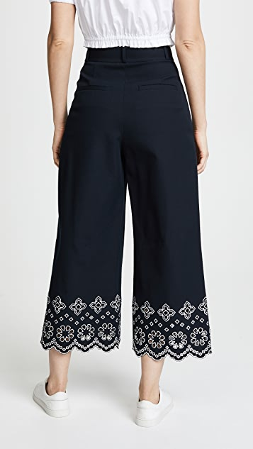 Derek Lam 10 Crosby Wide Leg Pants with Eyelet