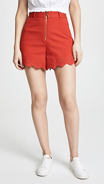 Derek Lam 10 Crosby High Waisted Embroidery Shorts - Red Clay