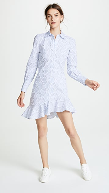Derek Lam 10 Crosby Shirt Dress With Ruffle Hem