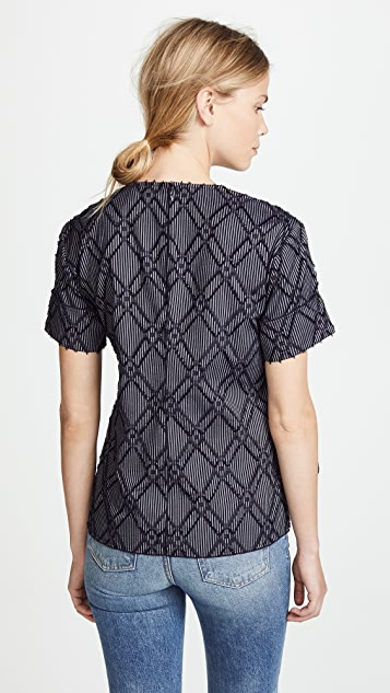 Derek Lam 10 Crosby Short Sleeve Top With Knotted Hem
