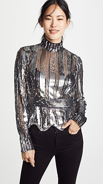 Derek Lam 10 Crosby Mock Neck Sequin Top
