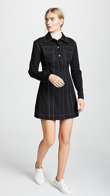 Derek Lam 10 Crosby Button-Down Dress With Top Stitching