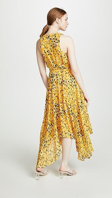 Derek Lam 10 Crosby Sleeveless V Neck Dress with Pleated Skirt