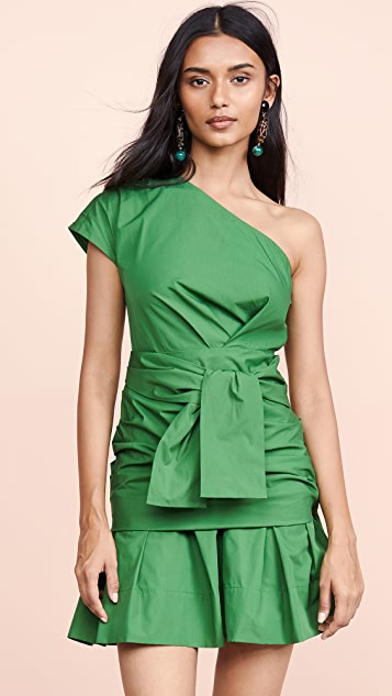 Derek Lam 10 Crosby One Shoulder Gathered Dress
