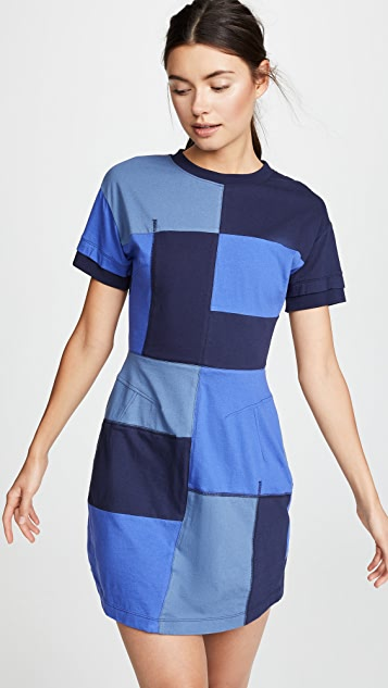 Derek Lam 10 Crosby Patchwork T-Shirt Dress