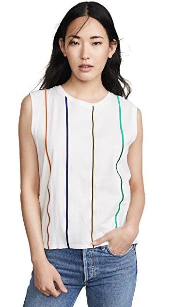 Derek Lam 10 Crosby Multicolor Stripe Embroidered Tank