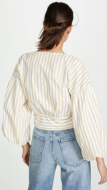 Derek Lam 10 Crosby 短款喇叭袖女式衬衫