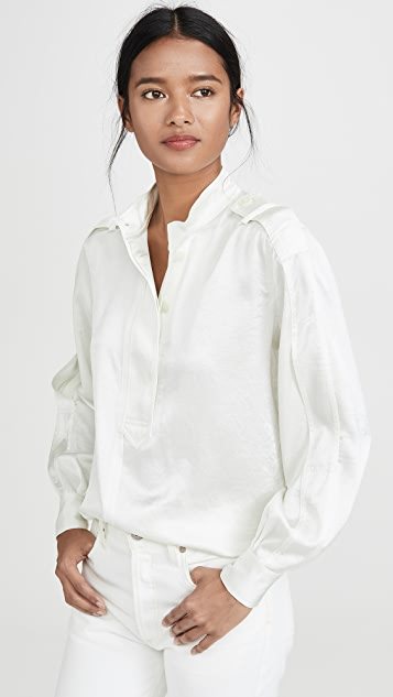 Derek Lam 10 Crosby Long Sleeve Half Placket Shirt