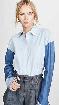 Cropped Denim Sleeve Button Down Shirt
