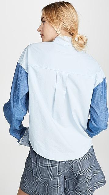 Derek Lam 10 Crosby Cropped Denim Sleeve Button Down Shirt