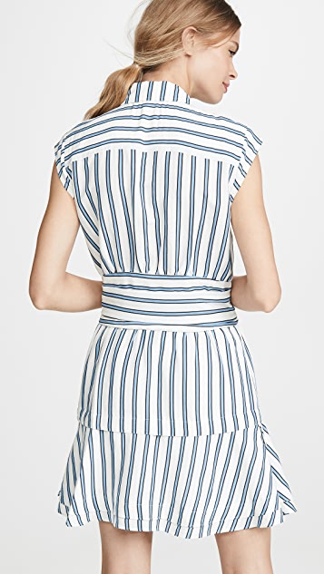 Derek Lam 10 Crosby Sleeveless Shirtdress with Twist Waist Detail