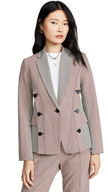 Derek Lam 10 Crosby Double Breasted Mixed Check Blazer