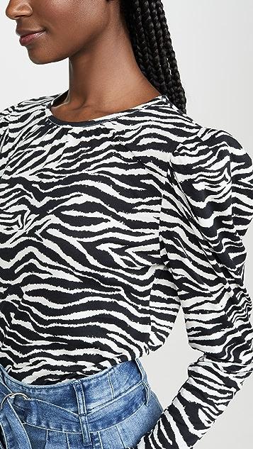 Derek Lam 10 Crosby Amara Long Sleeve Puff Shoulder Tee