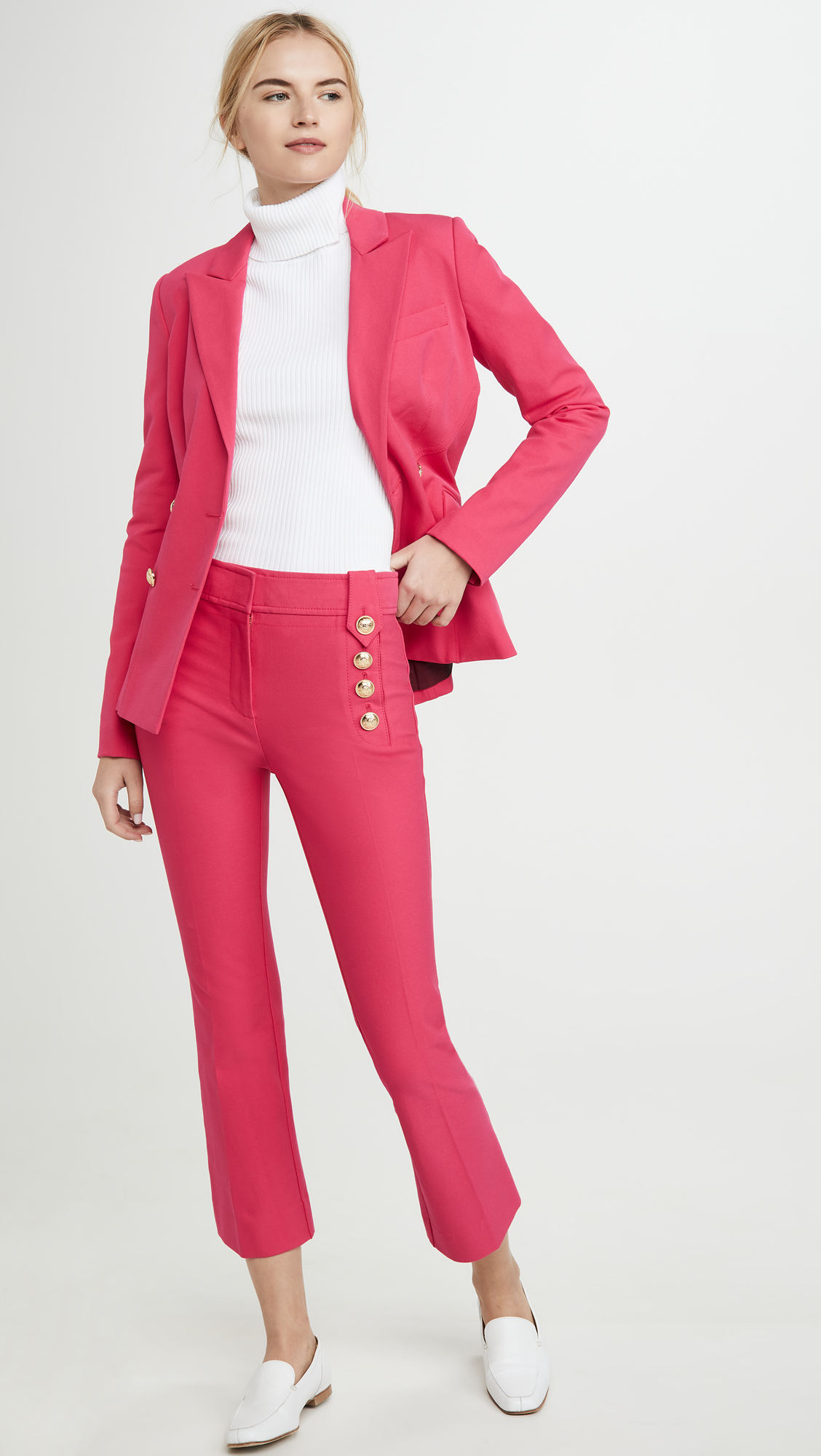 Derek Lam 10 Crosby Robertson Cropped Flare Trousers with Sailor Buttons
