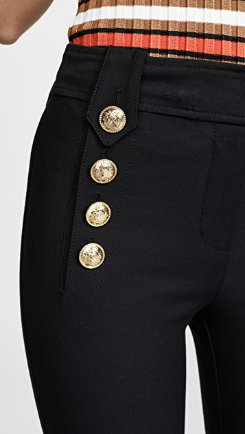 Derek Lam 10 Crosby Укороченные расклешенные брюки Robertson с пуговицами в морском стиле