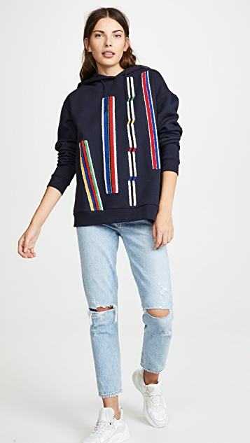 Etre Cecile Chenille Stripes Oversized Hoodie