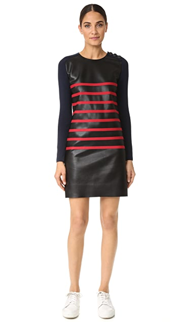 Cedric Charlier Stripe Leather Dress