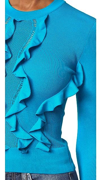 Cedric Charlier Long Sleeve Ruffle Sweater