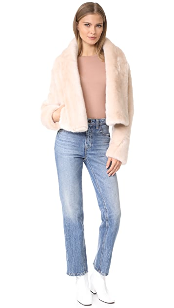 Cedric Charlier Cropped Faux Fur Jacket