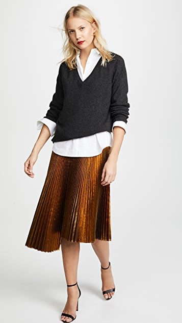 Cedric Charlier Metallic Asymmetric Skirt