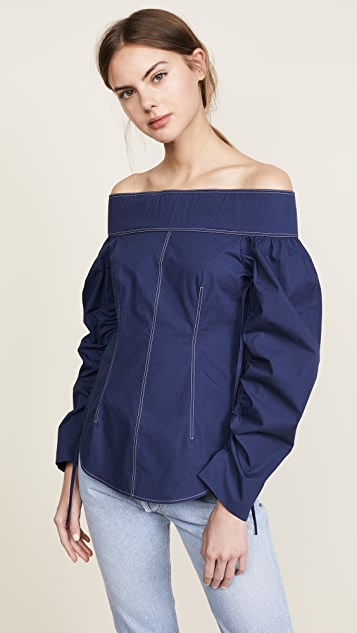 Cedric Charlier Shirting Off Shoulder Top