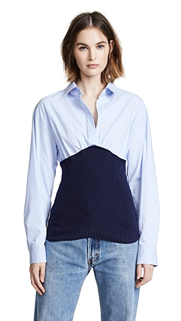 Cedric Charlier Knit Shirt Combo Top