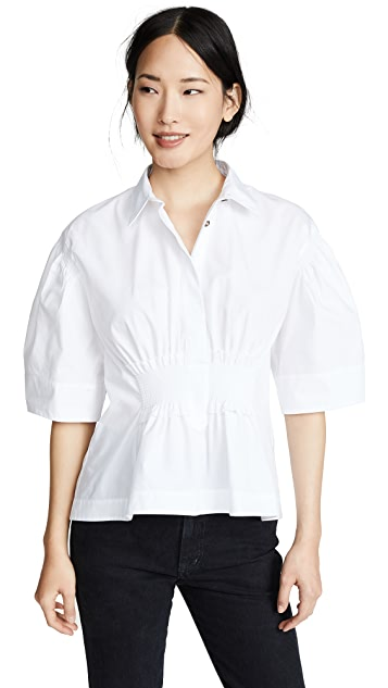 Cedric Charlier Присборенная на талии рубашка с воротником