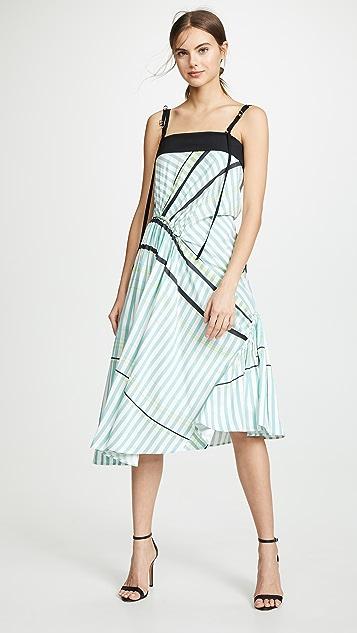 Cedric Charlier Asymmetrical Strap Midi Dress