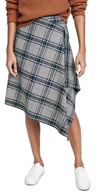 Cedric Charlier Plaid Wrap Skirt