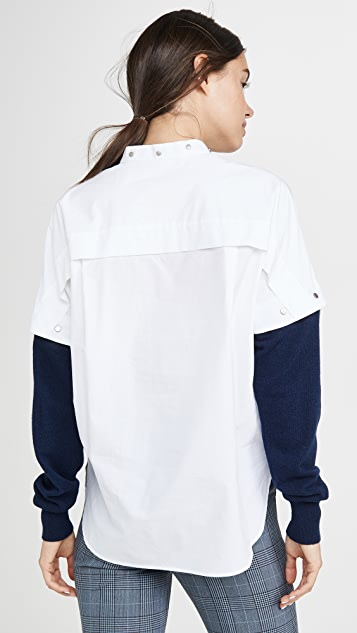 Cedric Charlier Contrast Sleeve Shirt