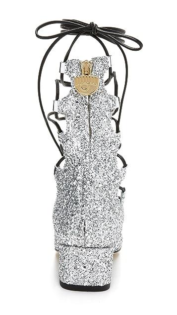 Chiara Ferragni Glitter Lace Up Heels