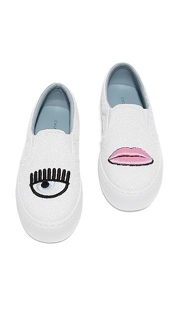 Chiara Ferragni Eye Lips Slip On Sneakers