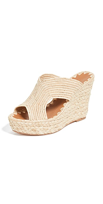 Carrie Forbes Lina Wedge Mules - Natural