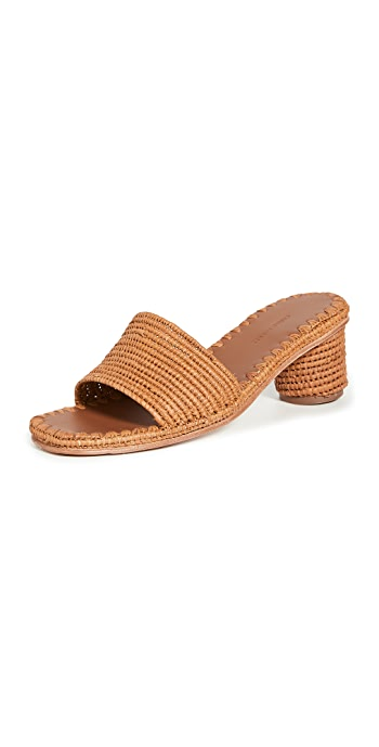 Carrie Forbes Bou Heeled Mules - Cognac