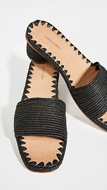 草编穆勒鞋 Bou 高跟凉拖鞋