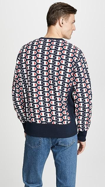 Champion Premium Reverse Weave All Over Print Crew Neck Sweatshirt