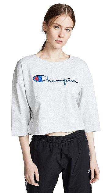 Champion Premium Reverse Weave 3/4 Sleeve Cropped Tee