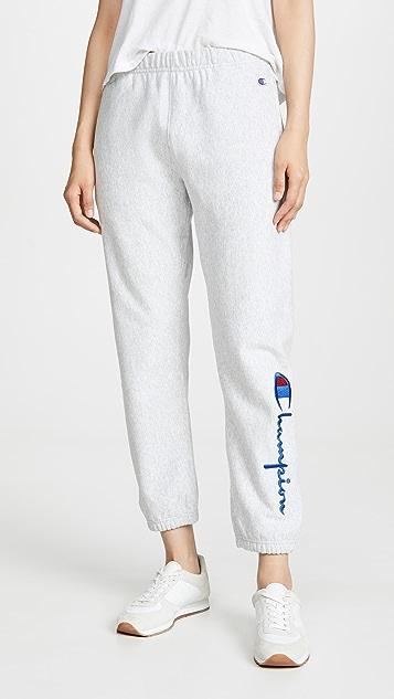 Big Script Elastic Cuff Pants by Champion Premium Reverse Weave