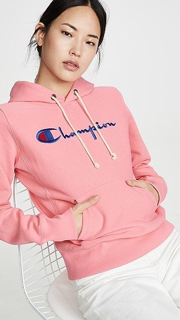 двусторонняя ткань Champion Premium Толстовка с капюшоном и крупной надписью
