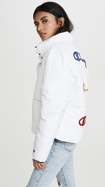 двусторонняя ткань Champion Premium Пуховый жакет с надписью на спине