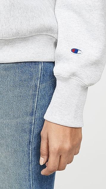 двусторонняя ткань Champion Premium Толстовка с высоким вырезом и логотипом на рукаве