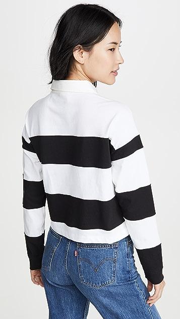 Champion Premium Reverse Weave Small Script Striped Polo