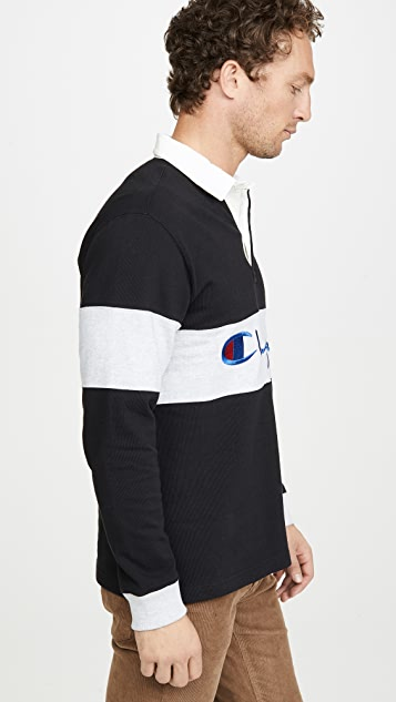 Champion Premium Reverse Weave Big Scriped Long Sleeve Polo Shirt