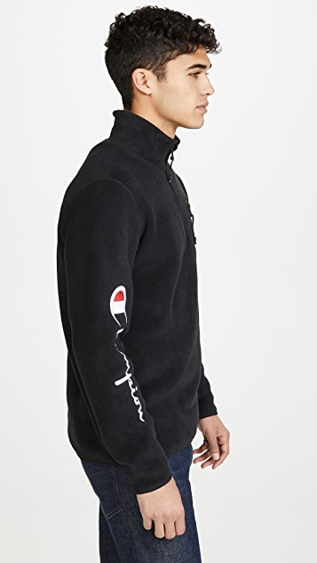 Champion Premium Reverse Weave Half Zip Sweatshirt With Sleeve Script