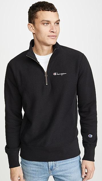 Champion Premium Reverse Weave Small Script Half Zip Sweatshirt
