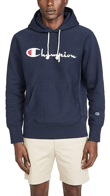 Champion Premium Reverse Weave Big Script Logo Hooded Sweatshirt