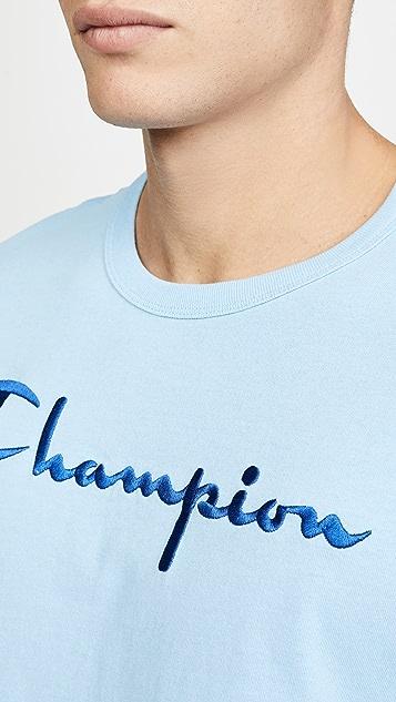 Champion Premium Reverse Weave Big Script Logo Tee Shirt