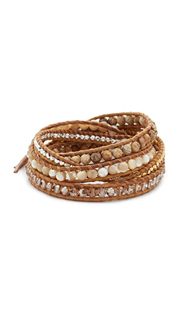 Chan Luu Picture Jasper Mix Beaded Wrap Bracelet