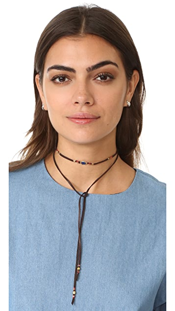 Chan Luu Sapphire Leather Choker Necklace