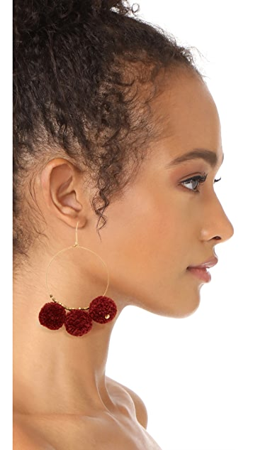 Chan Luu Pom Pom Hoop Earrings